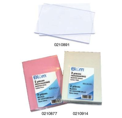Blum Set of 2 Pink, 4x6 Lino Printmaking blocks - 1/4 thick