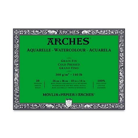 Arches WC Block ColdPressed 10x14 140lb (20 sheets in Block) (Natural White)