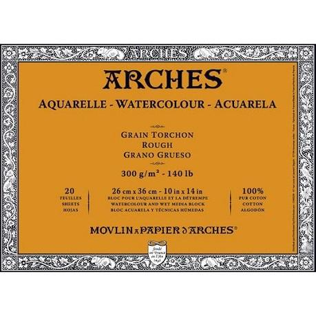 Arches WC Block Rough 10x14 140lb (20 sheets in Block) (Natural White)