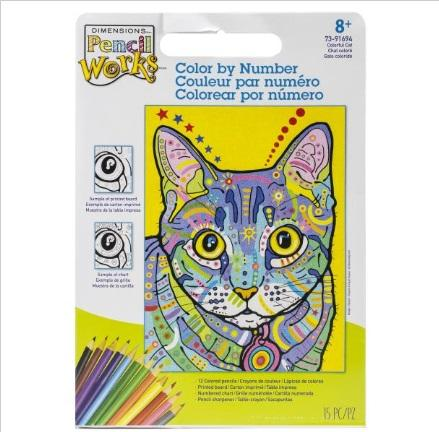 Colour by Number Cat