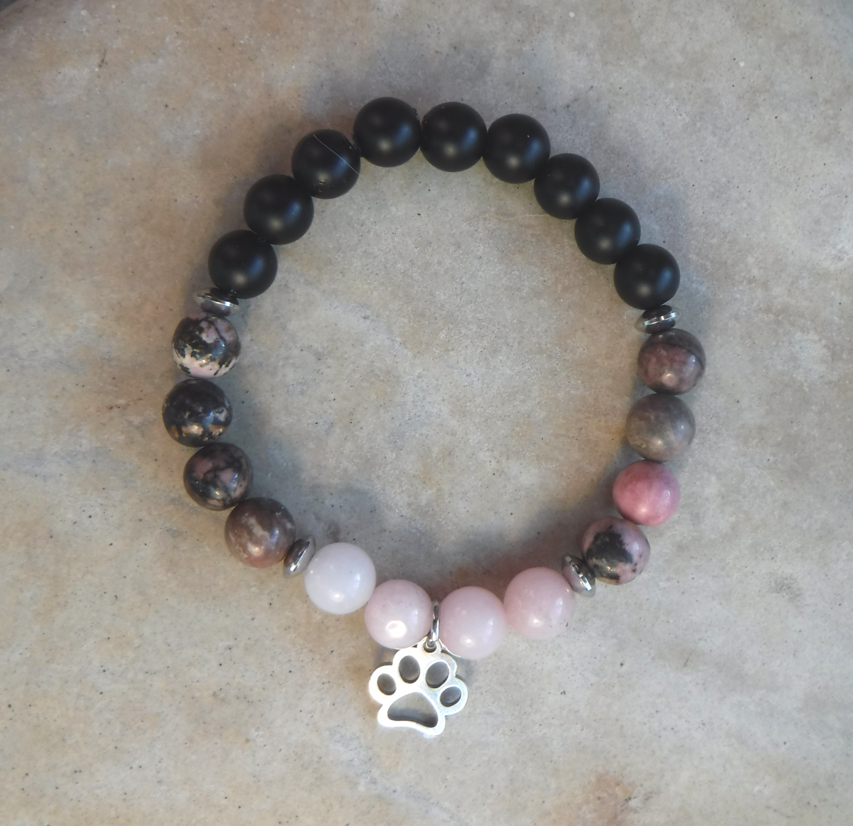 BE SUPPORTED: Pink Rhodonite, Cherry Blossom Jasper and Black Stone with Paw Charm