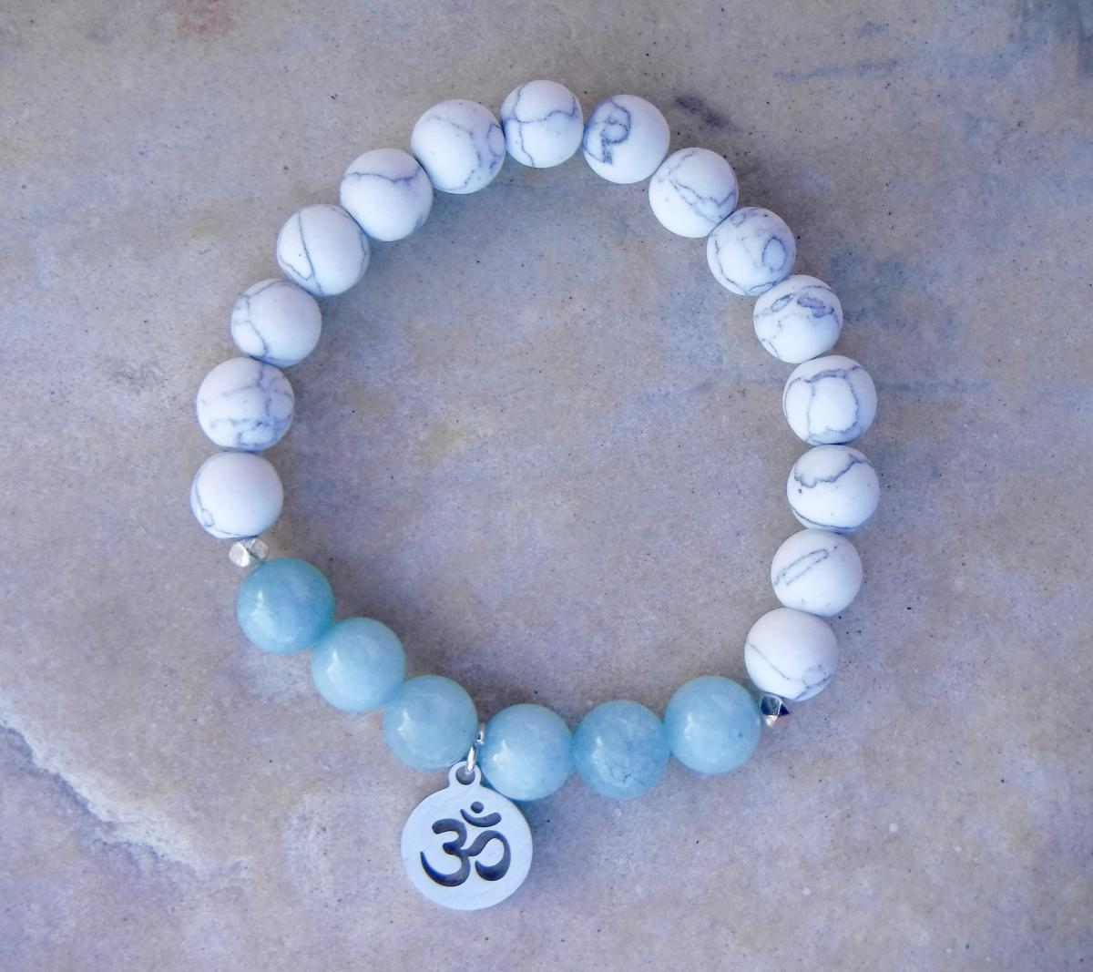 BE COURAGEOUS: Blue Jade with White Howlite and Om Charm