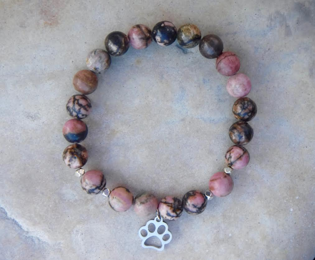 BE LOVED: Pink Rhodonite and Paw Charm