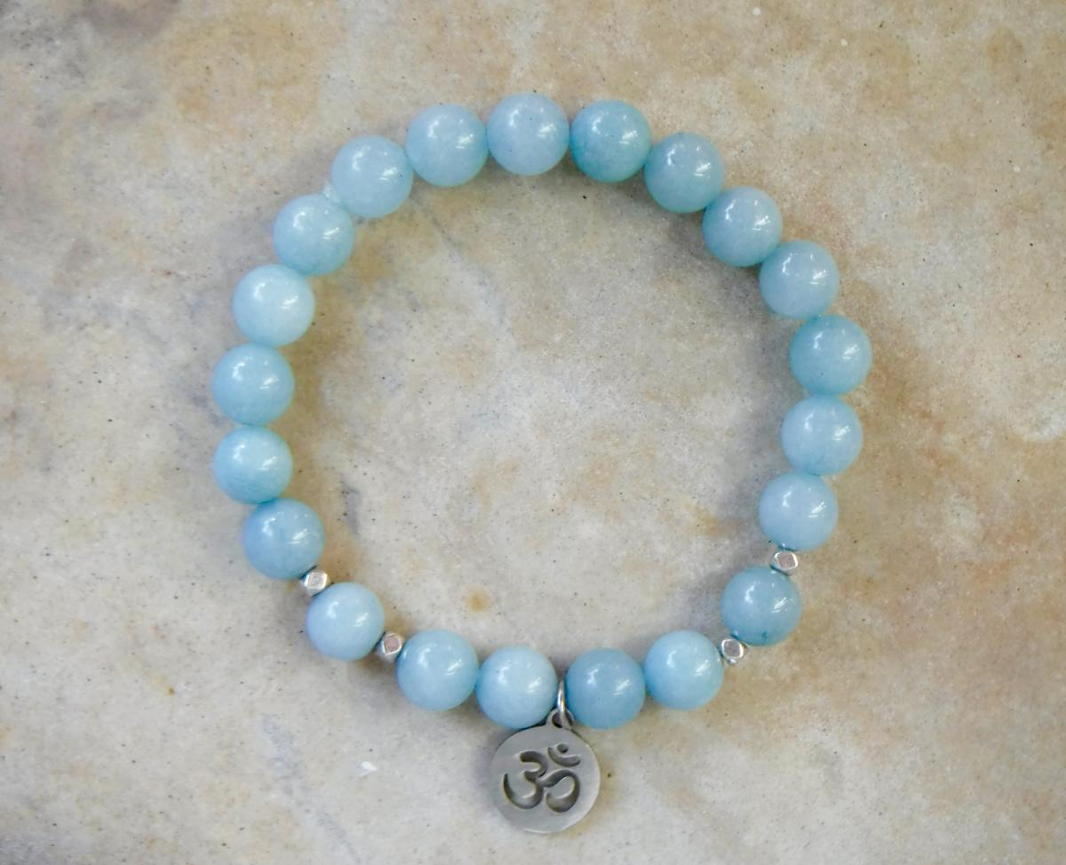 BE COURAGEOUS: Blue Jade with Om Charm