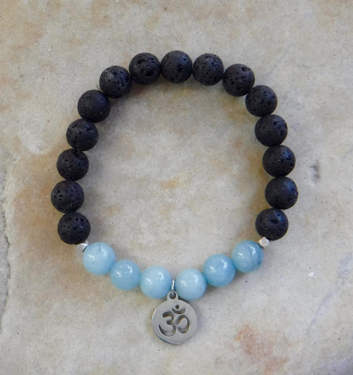 BE COURAGEOUS - Blue Jade, Lava and Om Charm