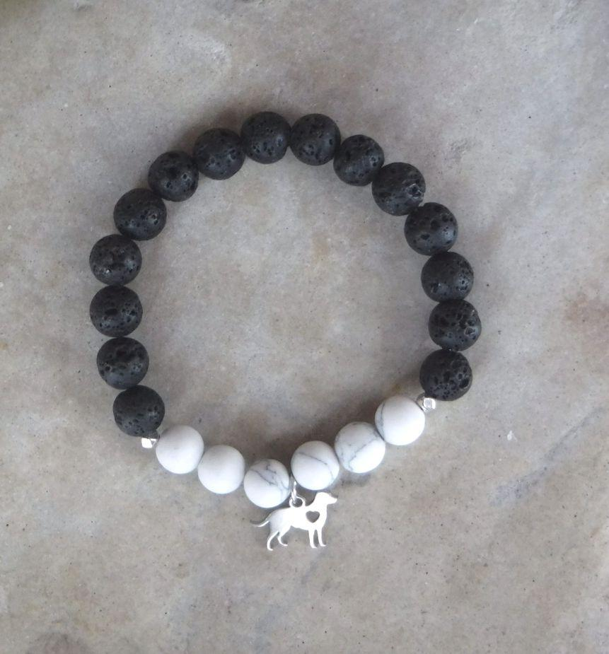 BE CALM: Black Lava, White Howlite and Dog Charm