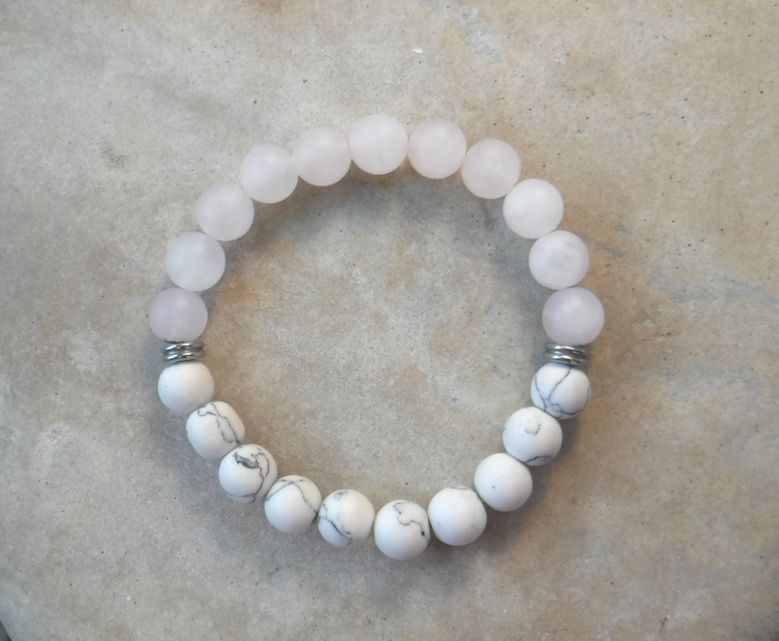 BE PEACEFUL: Frosted Pink Quartz and Howlite