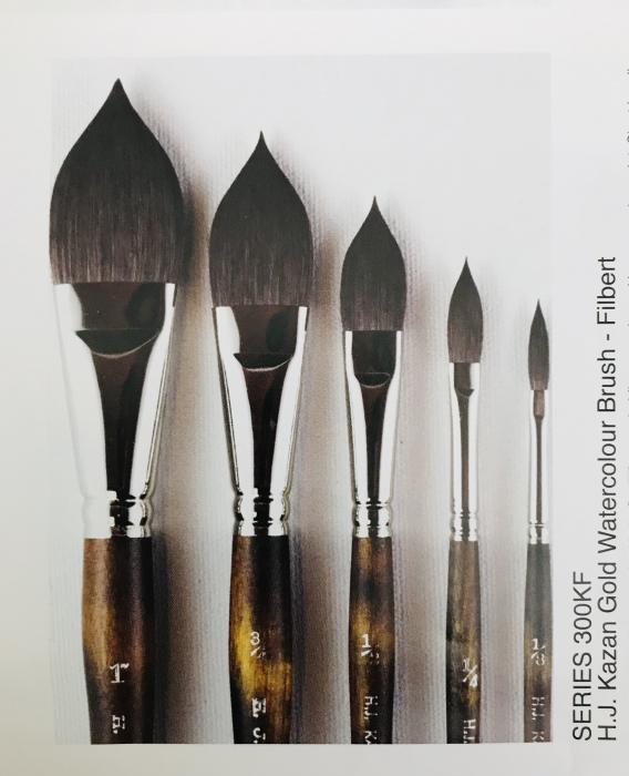 Kazan Gold Watercolour Brush Series 300F (Filberts) - Available in 5 sizes