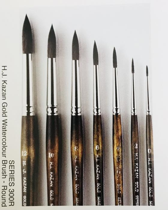 Kazan Gold Watercolour Brush Series 300R  (Round) - Available in 7 sizes