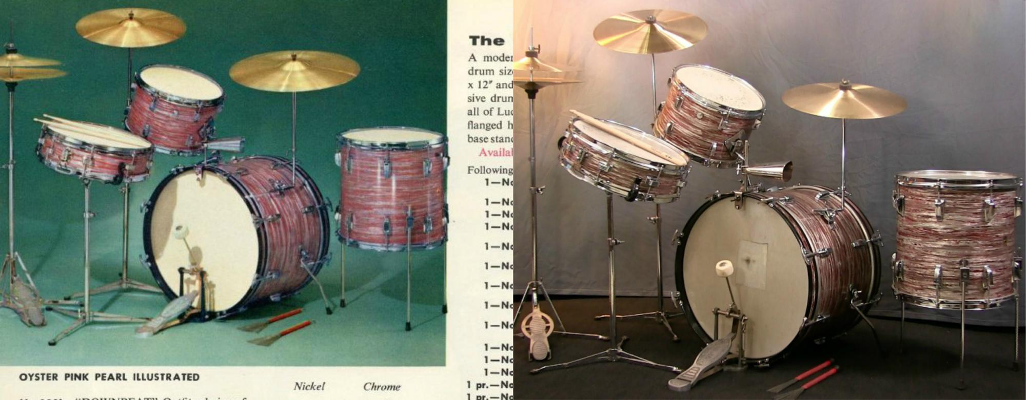 1960 Ludwig Oyster Pink Pearl Downbeat Drum Set
