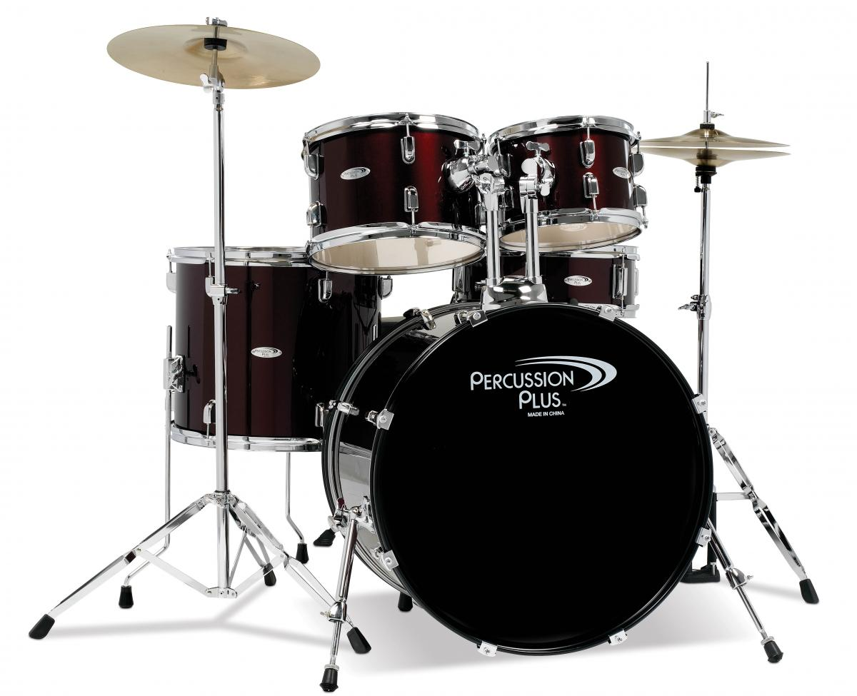 Percussion Plus 5pc Drum Set in Wine Red with Cymbals and Hardware