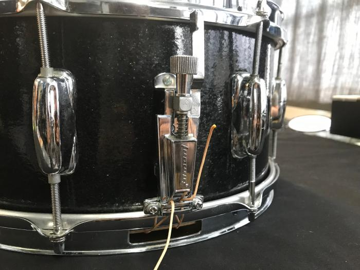 Black Sparkle Custom snare drum made with Keller maple shell CLEAN