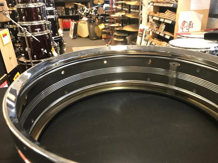 1977-78 Rogers DynaSonic 14x5 Chrome Over Brass COB Snare Shell
