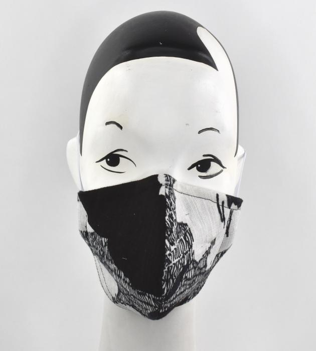 Black and white abstracted flower face mask - AN AWESOME FACE HAT!