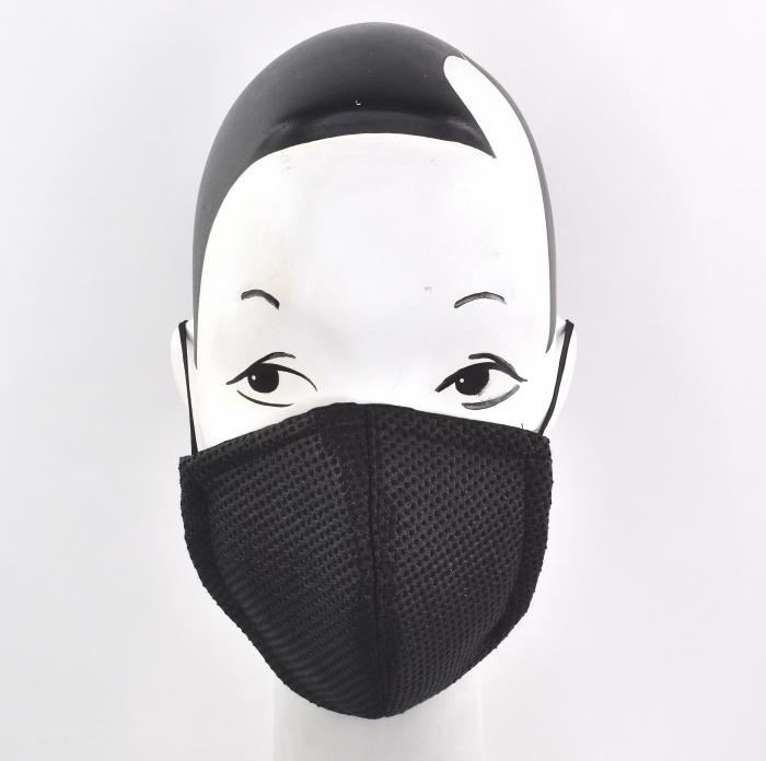 Black textured face mask couture