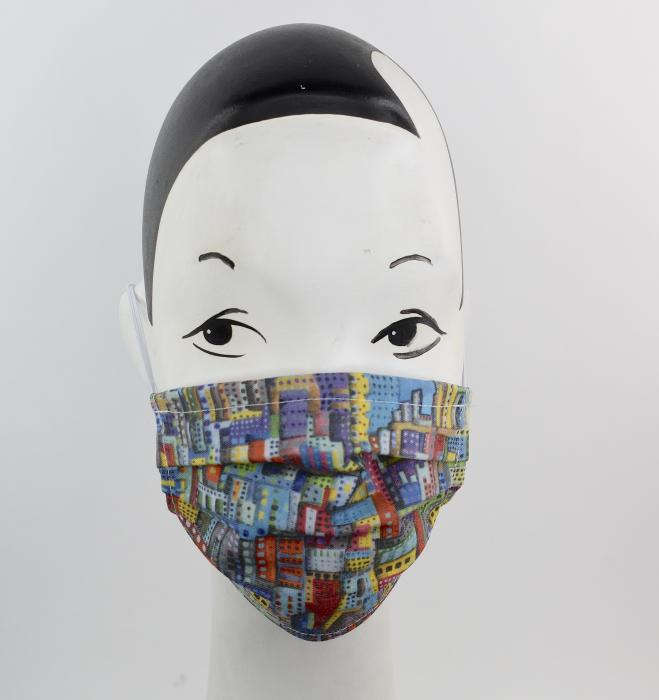 Face mask with Cityscape - Art to wear - AWESOME FACE HAT!