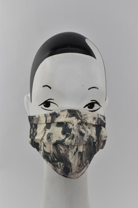 Black and white abstract art face mask